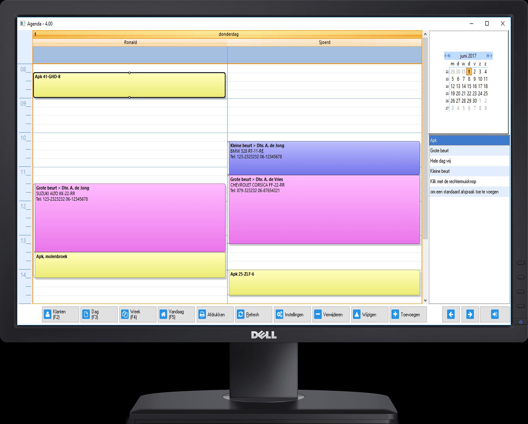 software agenda voor garage